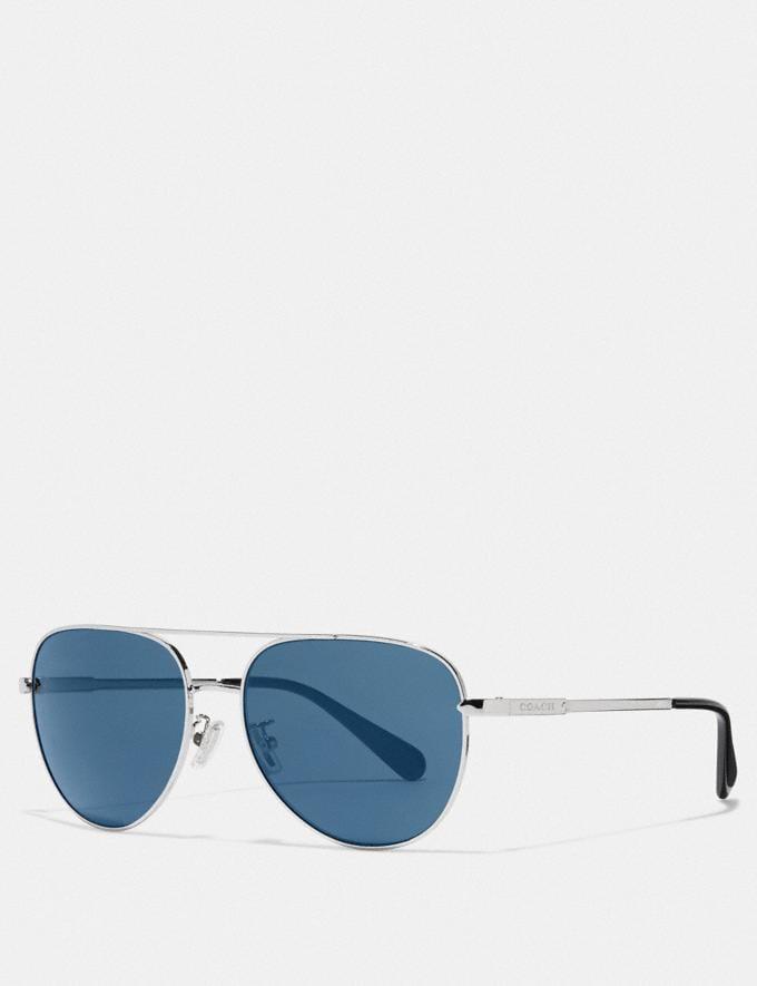 Coach Cooper Pilot Sunglasses Shiny Gunmetal/Blue Flash