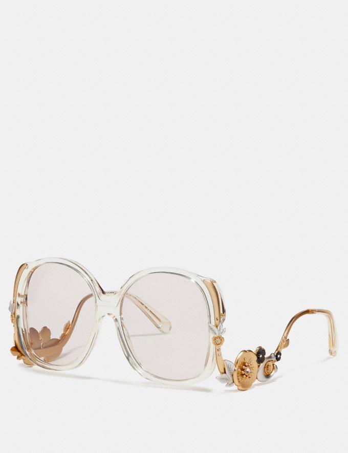 Coach Tea Rose Frame Sunglasses Crystal Yellow Women Accessories Sunglasses
