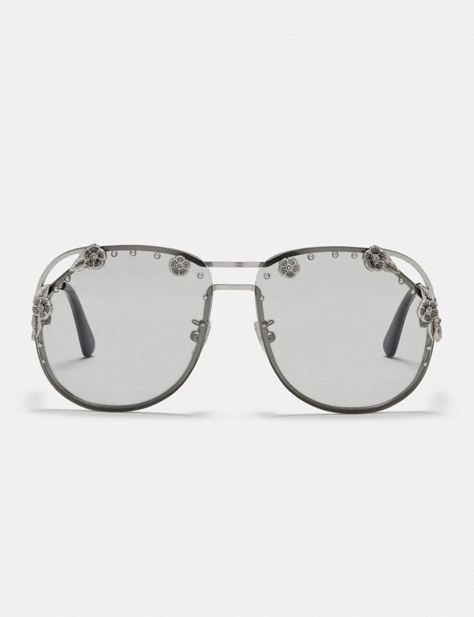 Coach Tea Rose Aviator Sunglasses Matte Silver/Light Grey Solid Women Accessories Sunglasses Alternate View 1