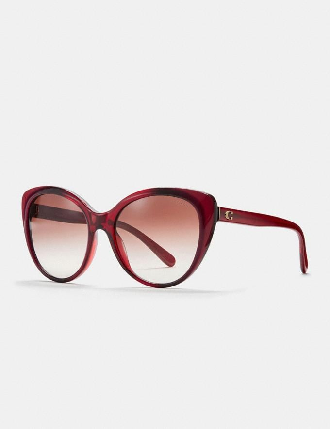 Coach Beveled Edge Cat Eye Sunglasses Berry Laminate CYBER MONDAY SALE Women's Sale Accessories
