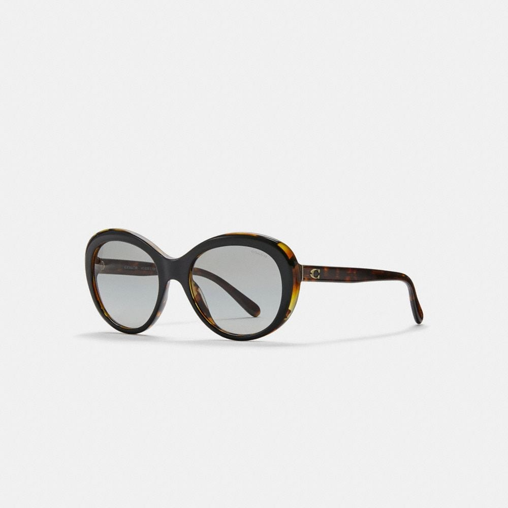 BEVELED EDGE OVAL SUNGLASSES