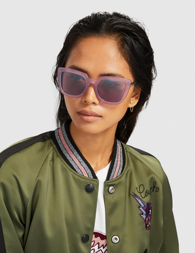 Coach Signature Chain Large Square Sunglasses Transparent Purple DEFAULT_CATEGORY Alternate View 1