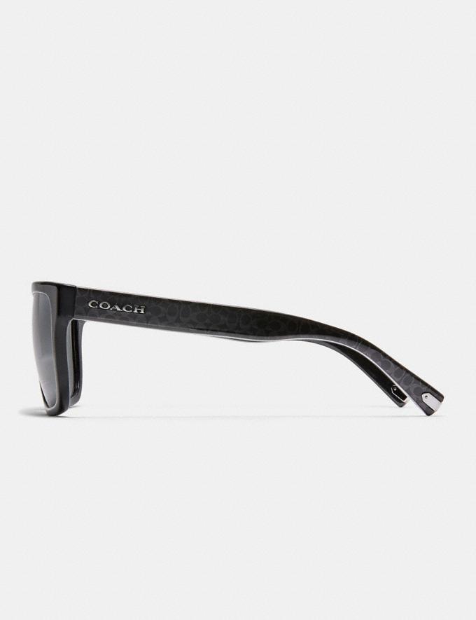 Coach Ian Signature Square Sunglasses Black/Gun Sig C Men Accessories Sunglasses Alternate View 3