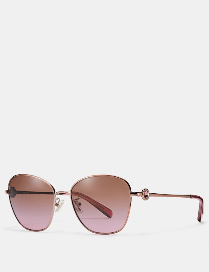 Coach Gia Butterfly Sunglasses Rose Gold/Brown Rose Grad
