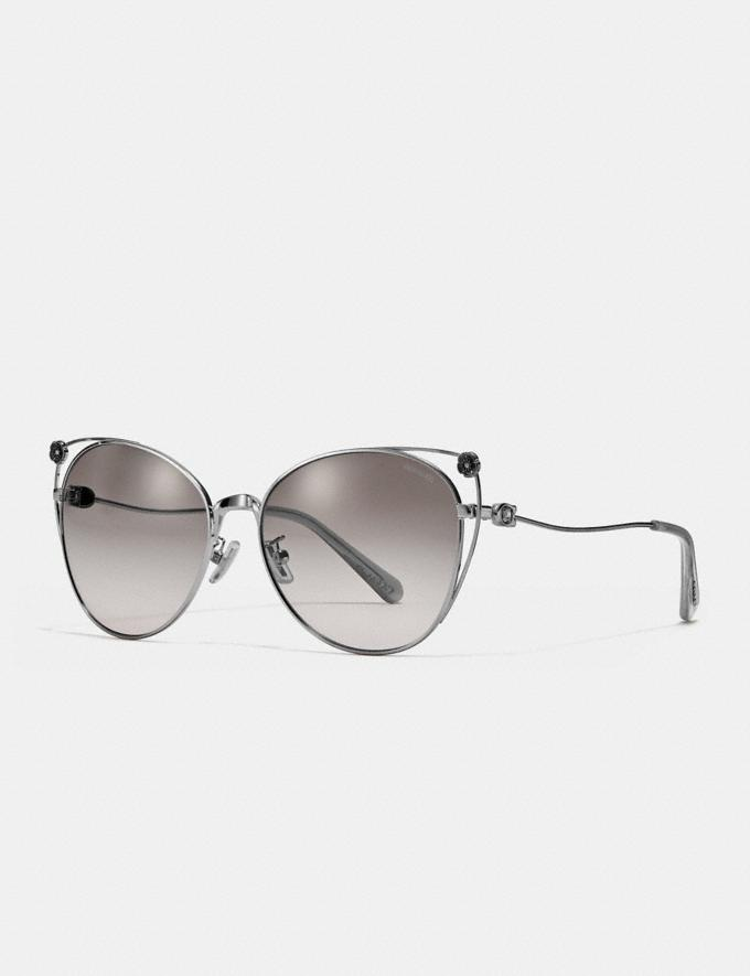 Coach Tea Rose Cat Eye Open Sunglasses Shiny Silver/Gray Gradient Women Accessories Sunglasses Alternate View 2
