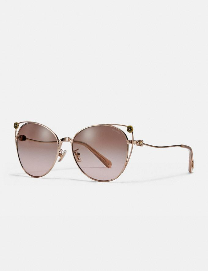 Coach Tea Rose Cat Eye Open Sunglasses Shiny Rose Gold/Brown Rose Gradient Women Accessories Eyewear