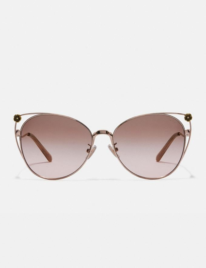 Coach Tea Rose Cat Eye Open Sunglasses Shiny Rose Gold/Brown Rose Gradient Women Accessories Eyewear Alternate View 2