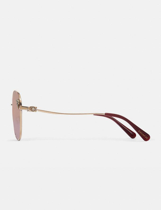 Coach Tea Rose Oval Sunglasses Shiny Light Gold/Burgundy Gradient  Alternate View 3