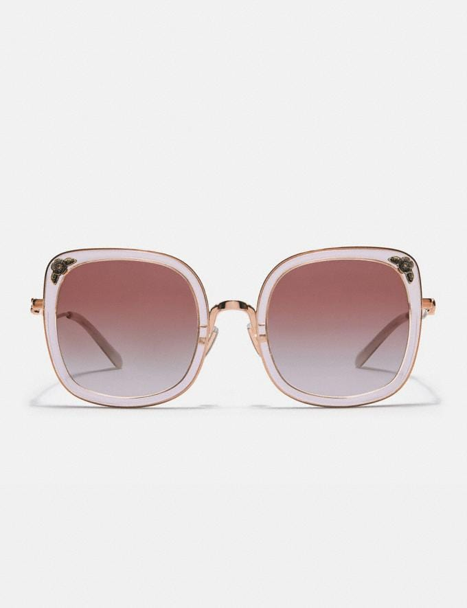 Coach Tea Rose Square Sunglasses Rose Gold/Transparent Pink New Women's New Arrivals Accessories Alternate View 1