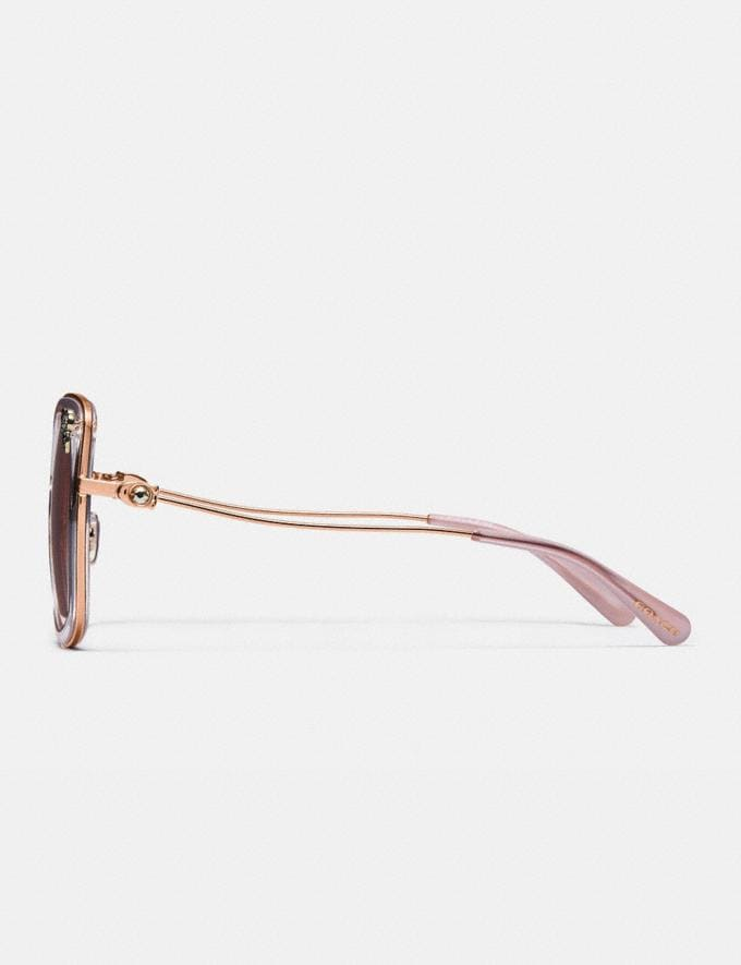 Coach Tea Rose Square Sunglasses Rose Gold/Transparent Pink Gifts For Her Alternate View 2
