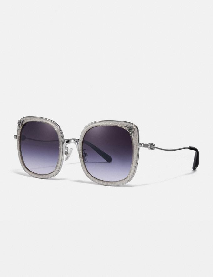Coach Tea Rose Square Sunglasses Gunmetal/Purple Grey Glitter Women Accessories Sunglasses