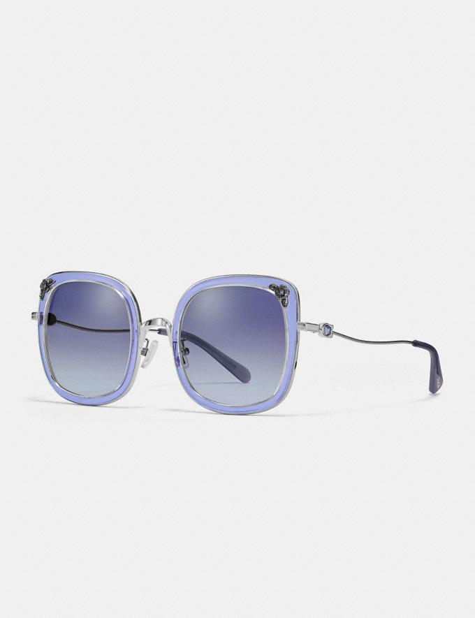 Coach Tea Rose Square Sunglasses Gunmetal/Transparent Purple Gifts For Her Bestsellers