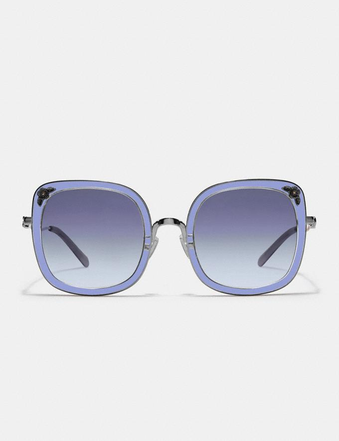 Coach Tea Rose Square Sunglasses Gunmetal/Transparent Purple Gifts For Her Alternate View 1