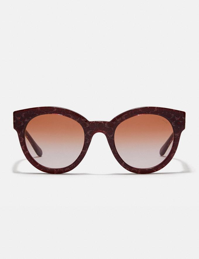 Coach Signature Round Sunglasses Burgundy Glitter Sig C Women Accessories Sunglasses Alternate View 2