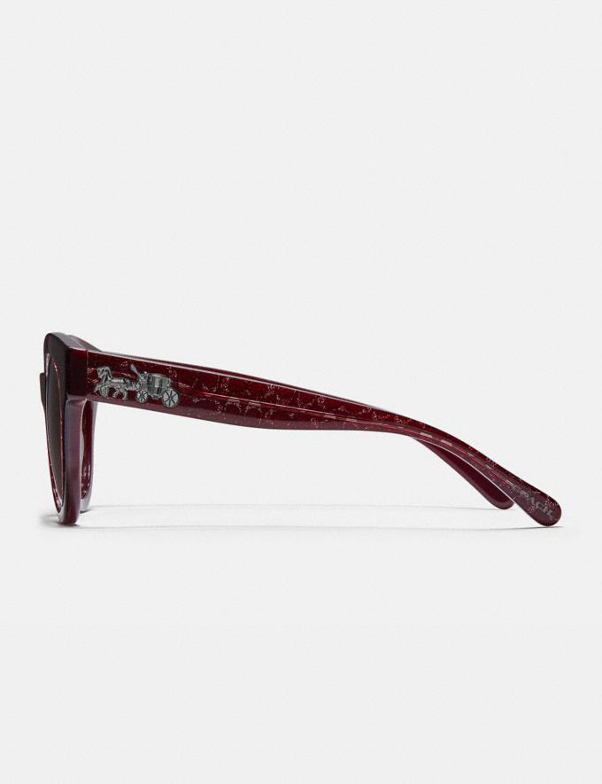 Coach Signature Round Sunglasses Burgundy Glitter Sig C Women Accessories Sunglasses Alternate View 3