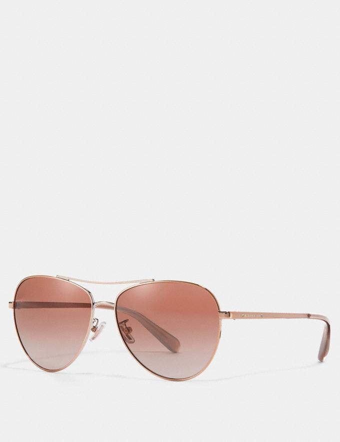 Coach Ryan Jeweled Pilot Sunglasses Shiny Rose Gold/Brown Pink