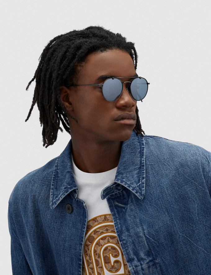 Coach Thin Metal Round Sunglasses Silver/Blue Men Accessories Sunglasses Alternate View 1