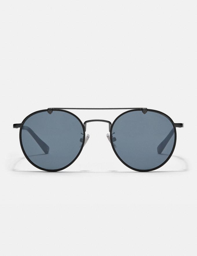 Coach Thin Metal Round Sunglasses Silver/Blue Men Accessories Sunglasses Alternate View 2