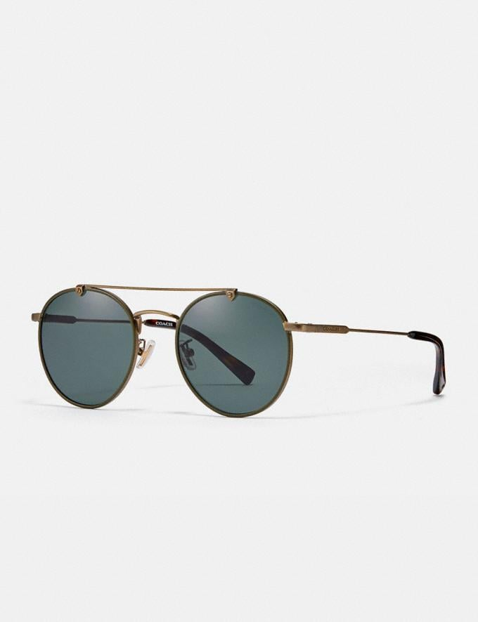Coach Thin Metal Round Sunglasses Antique Gold/Dark Green