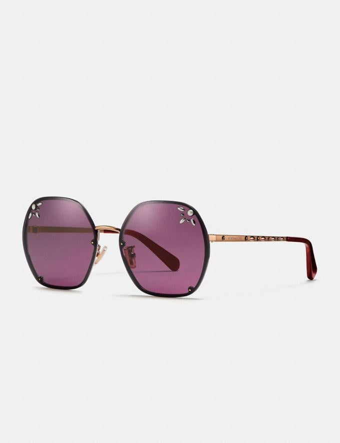 Coach Prairie Rivets Hexagon Sunglasses Burgundy Women Accessories Sunglasses
