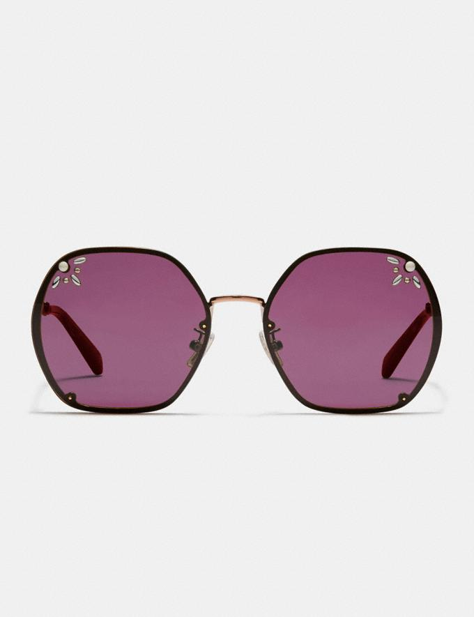 Coach Prairie Rivets Hexagon Sunglasses Burgundy Women Accessories Sunglasses Alternate View 2