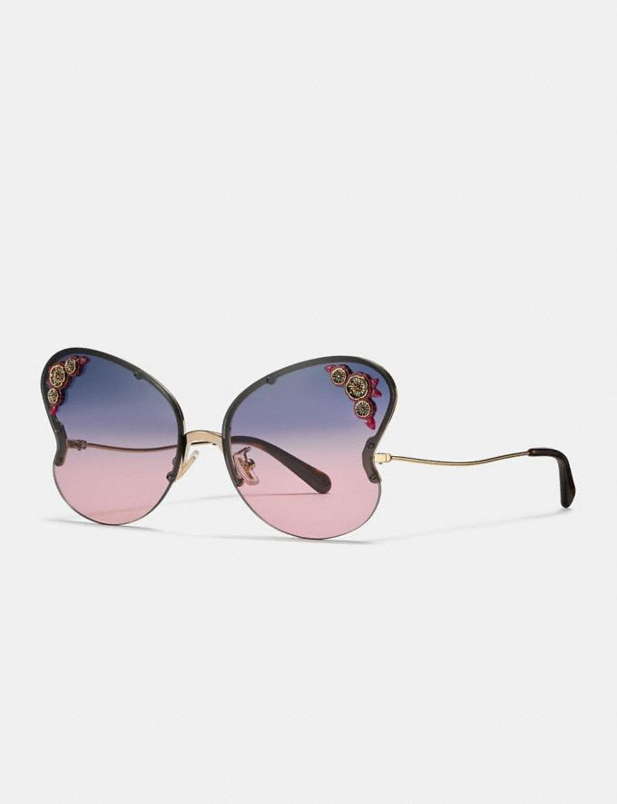 Coach Butterfly Frame Sunglasses Blue/Pink Gradient