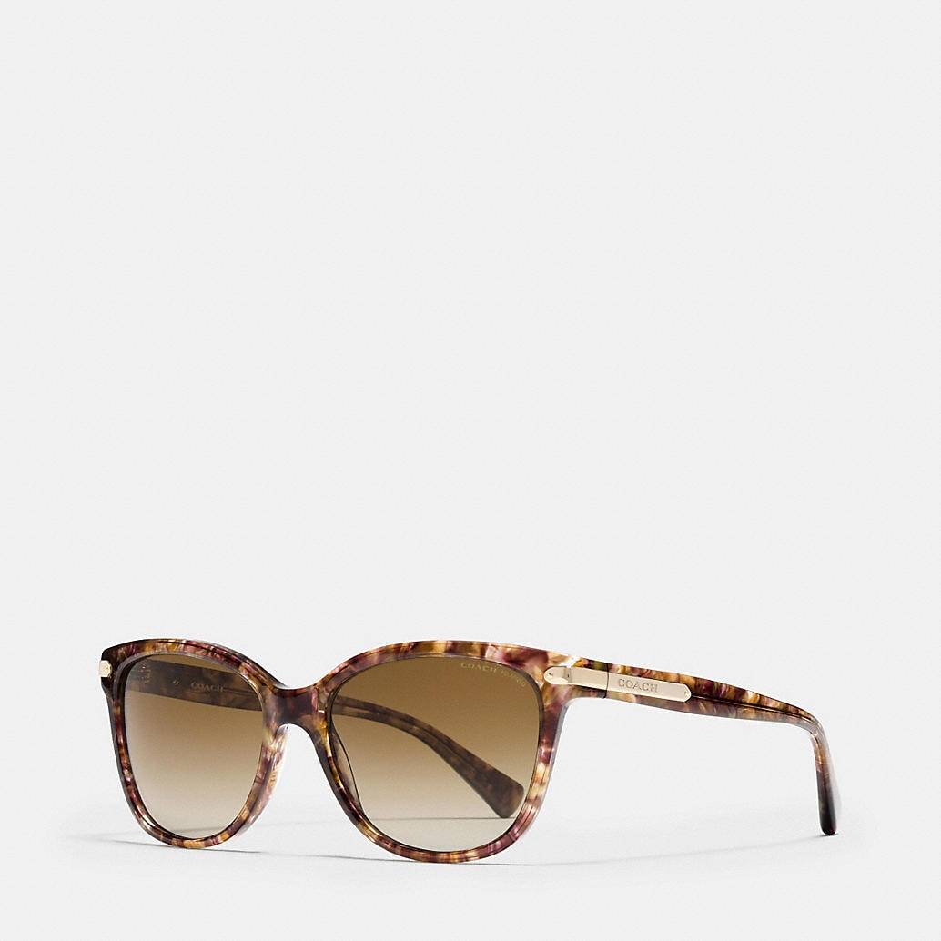 COACH Designer Sunglasses Tag Temple Cat Eye Sunglasses