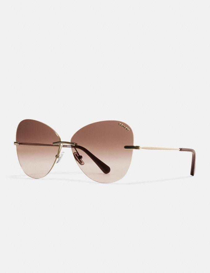 Coach Rimless Lens Applique Sunglasses Light Gold Gifts For Her