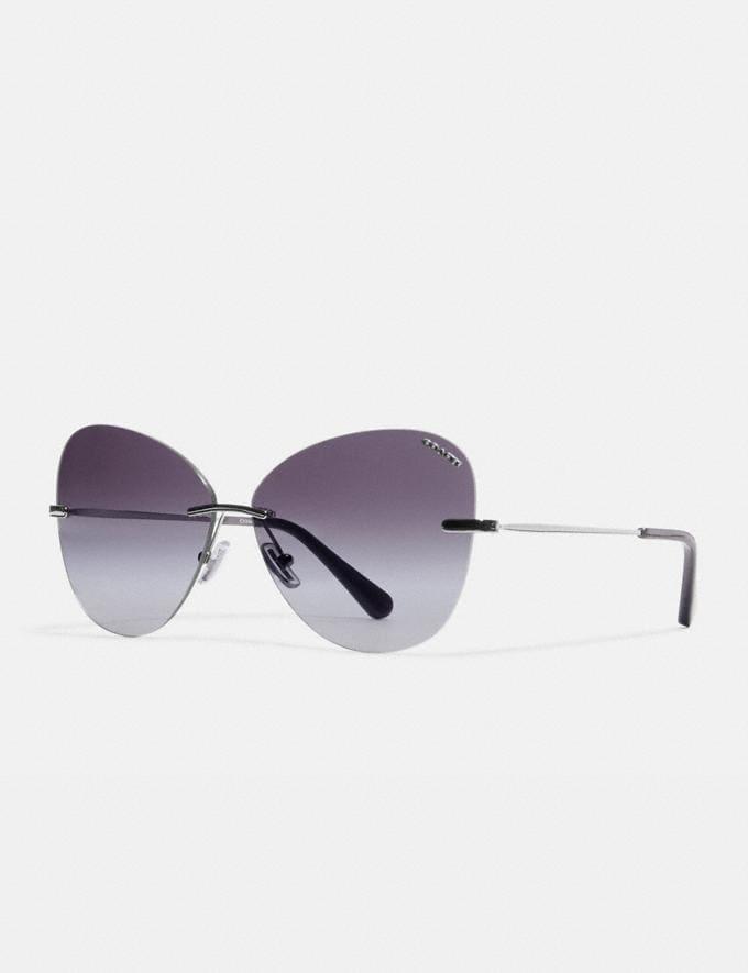 Coach Rimless Lens Applique Sunglasses Silver Women Accessories Sunglasses