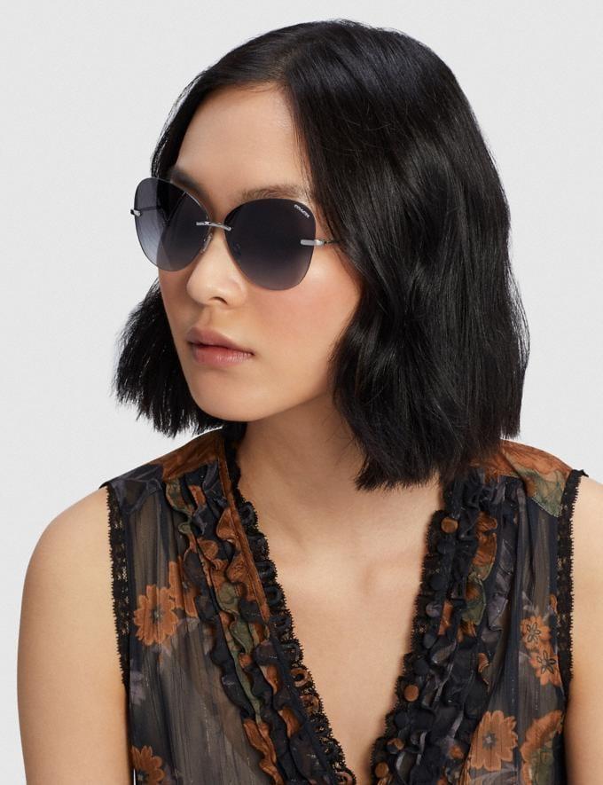 Coach Rimless Lens Applique Sunglasses Silver Women Accessories Sunglasses Alternate View 1
