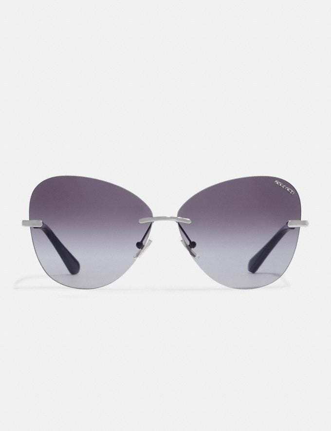 Coach Rimless Lens Applique Sunglasses Silver Women Accessories Sunglasses Alternate View 2