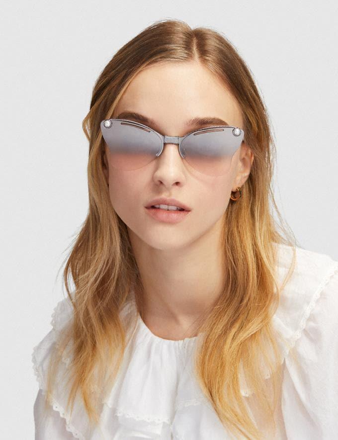 Coach Butterfly Sunglasses Pink/Silver/Gunmetal Women Accessories Sunglasses Alternate View 1