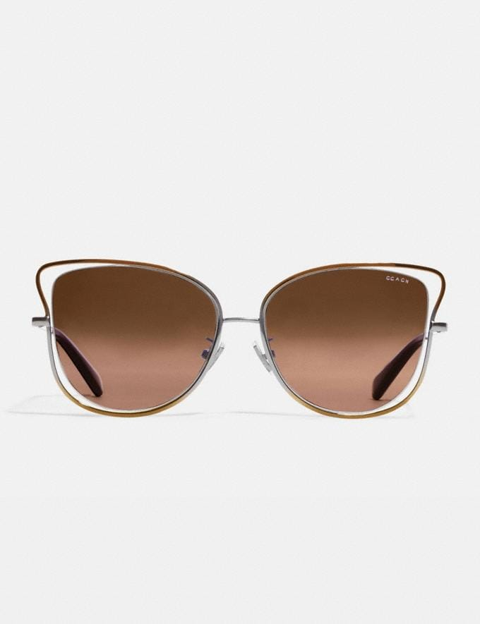 Coach Wire Frame Butterfly Sunglasses Shiny Brown Women Accessories Sunglasses Alternate View 2
