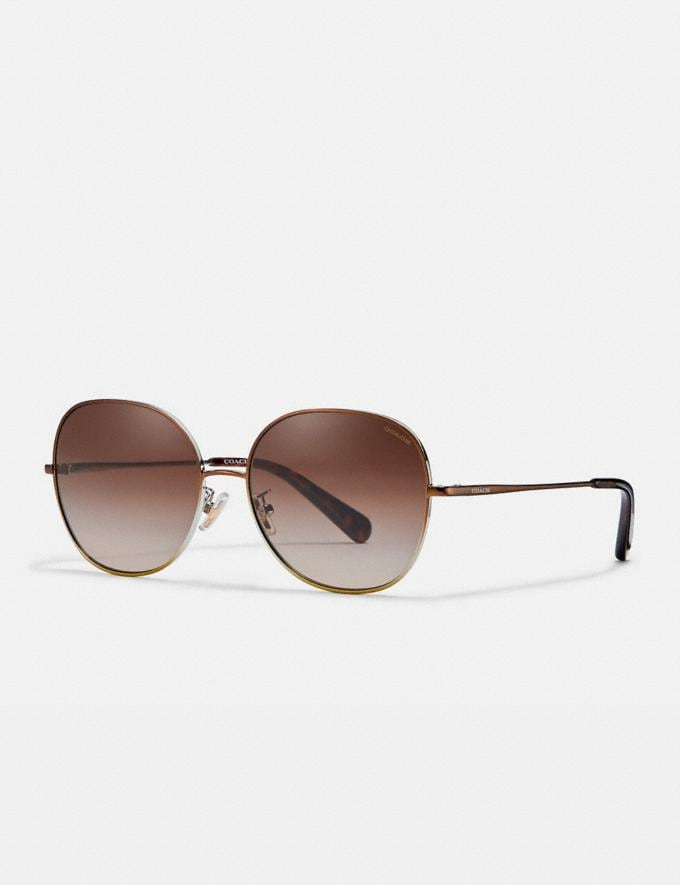 Coach Wire Frame Round Sunglasses Shiny Brown Women Accessories Eyewear