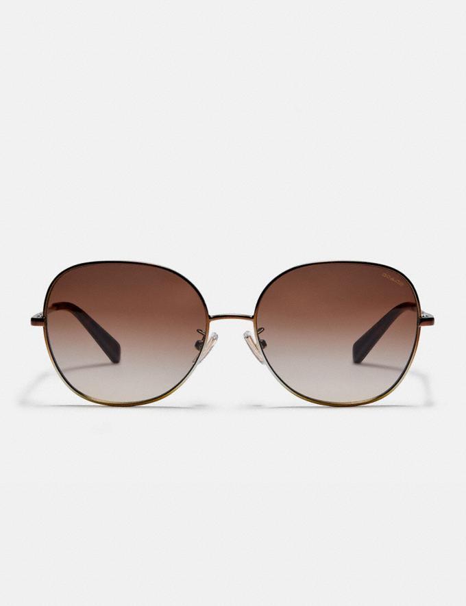 Coach Wire Frame Round Sunglasses Shiny Brown Women Accessories Eyewear Alternate View 2