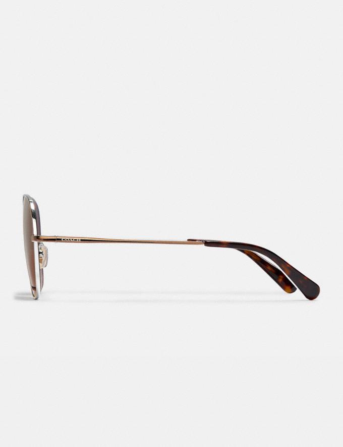 Coach Wire Frame Round Sunglasses Shiny Brown Women Accessories Eyewear Alternate View 3