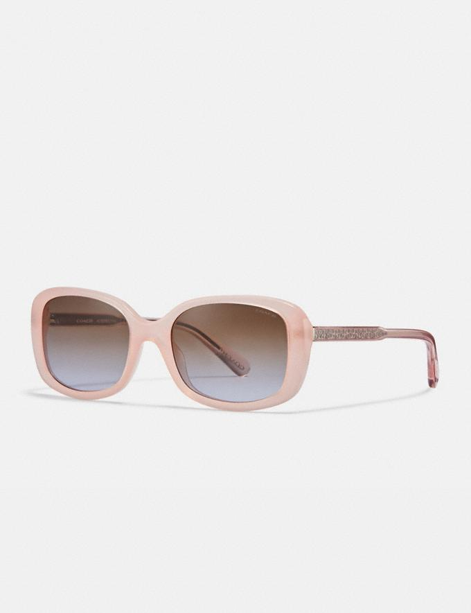 Coach Signature Rectangle Sunglasses Milky Pink Women Accessories Sunglasses