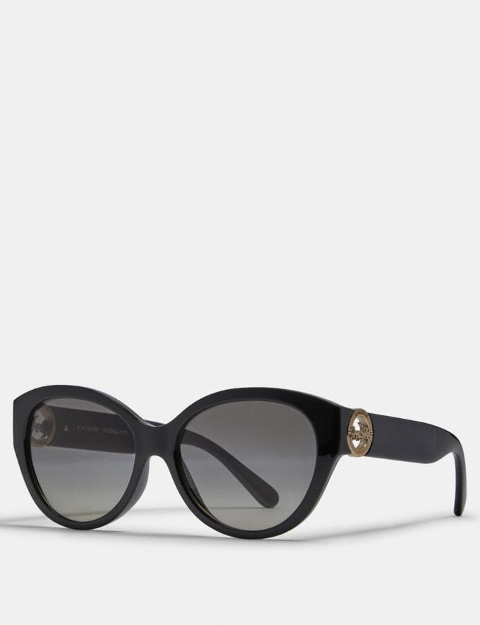 Coach Oversized Metal Cat Eye Sunglasses Black