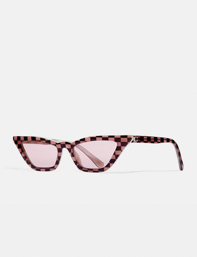 Coach Checkered Cat Eye Sunglasses Pink Women Accessories Sunglasses
