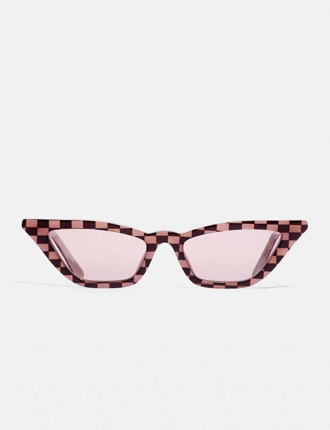 Coach Checkered Cat Eye Sunglasses Pink Women Accessories Sunglasses Alternate View 1
