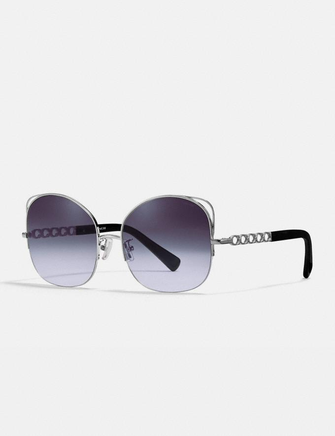 Coach Signature Chain Open Wire Sunglasses Violet Gradient Women Accessories Sunglasses