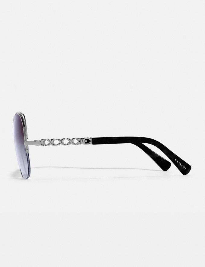 Coach Signature Chain Open Wire Sunglasses Violet Gradient Women Accessories Sunglasses Alternate View 2
