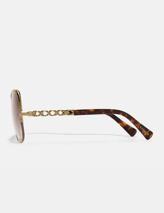 Coach Signature Chain Open Wire Sunglasses Dark Pink Gray Gradient Women Accessories Eyewear Alternate View 3