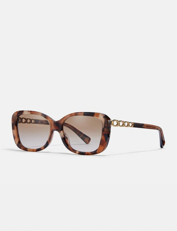 Coach Signature Chain Rectangle Sunglasses Pink Tortoise Women Accessories