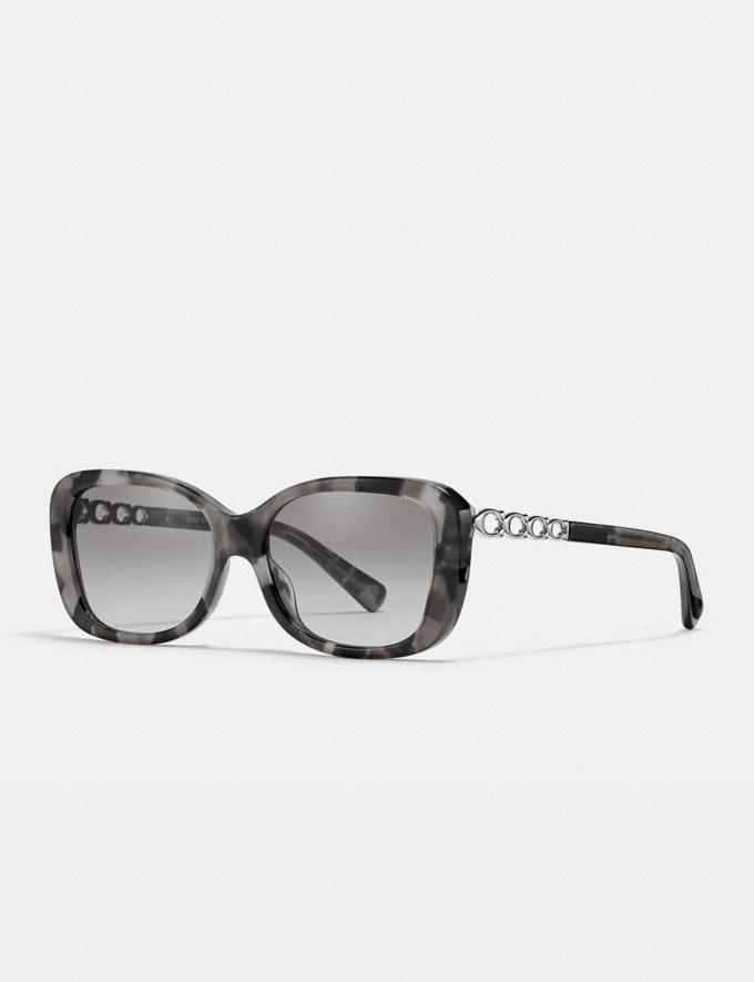 Coach Signature Chain Rectangle Sunglasses Gray Tortoise Women Accessories Eyewear