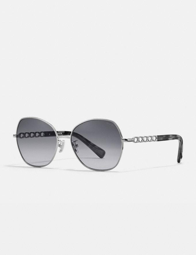Coach Signature Chain Round Sunglasses Gray Gradient Women Accessories Eyewear