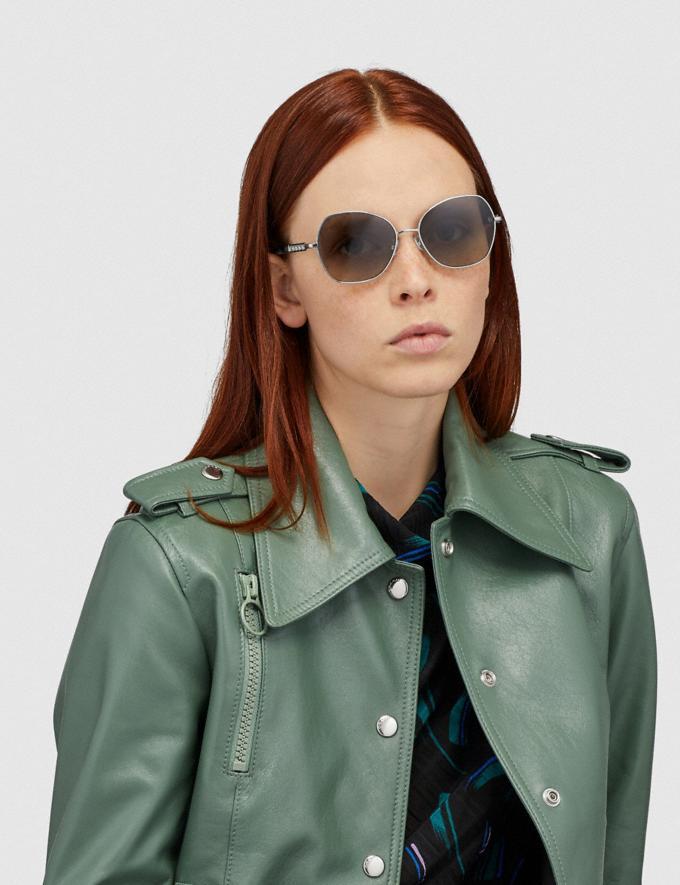 Coach Signature Chain Round Sunglasses Gray Gradient Women Accessories Sunglasses Alternate View 1
