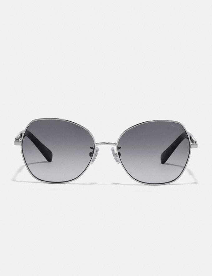 Coach Signature Chain Round Sunglasses Gray Gradient Women Accessories Eyewear Alternate View 1