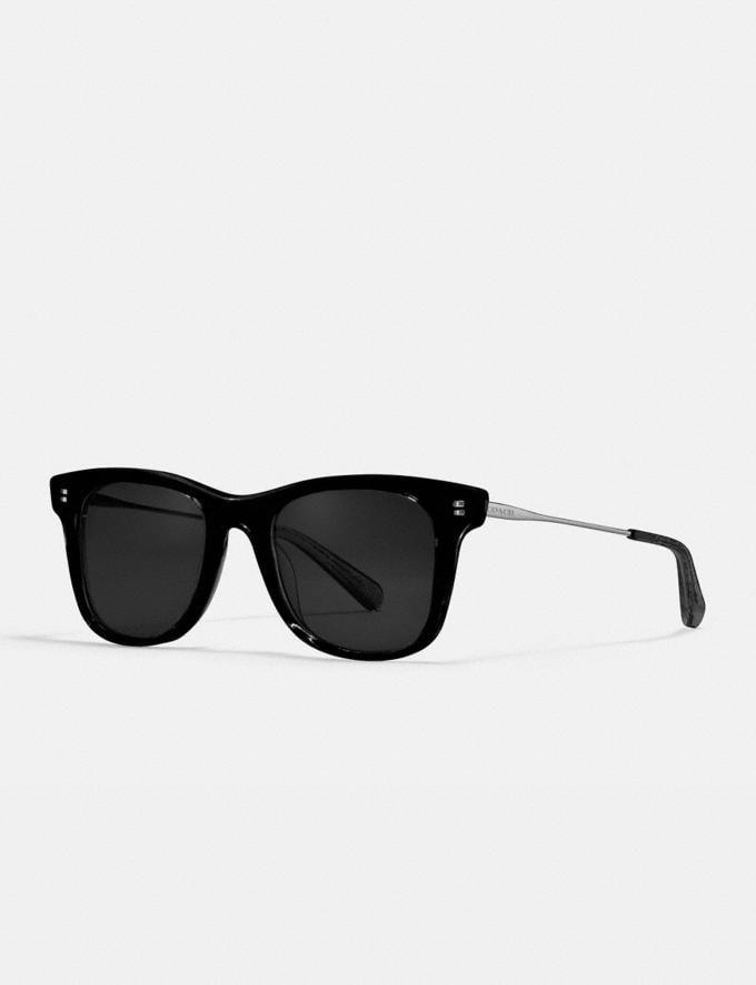 Coach Signature Glitter Metal Square Sunglasses Black Women Accessories Eyewear
