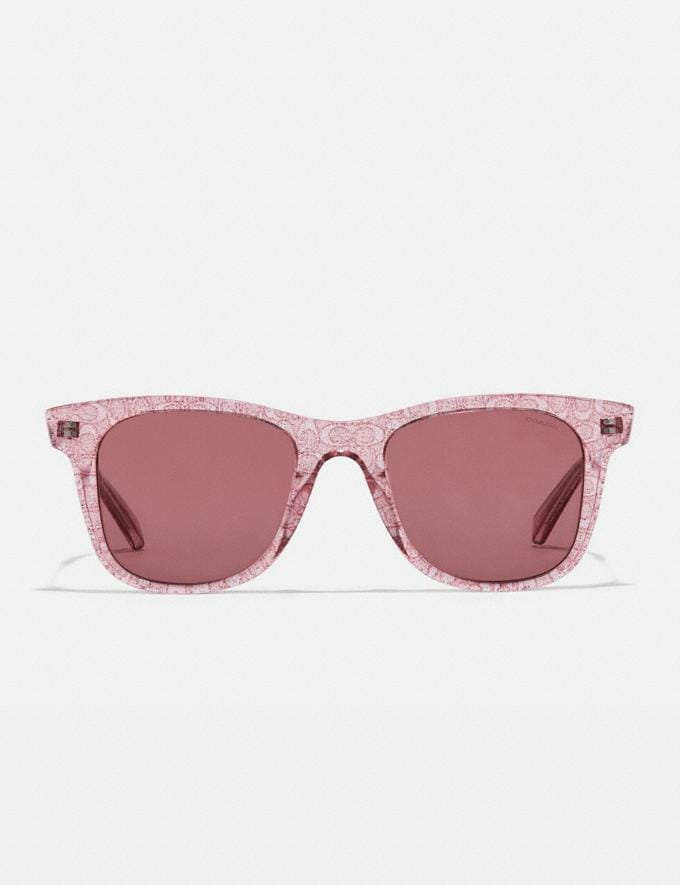 Coach Signature Glitter Metal Square Sunglasses Transparent Pink Women Accessories Sunglasses Alternate View 2